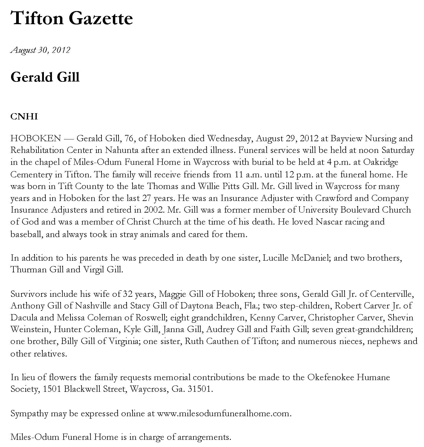 Obituaries Gerald Gill Obituary Rd Stone Family Genealogy
